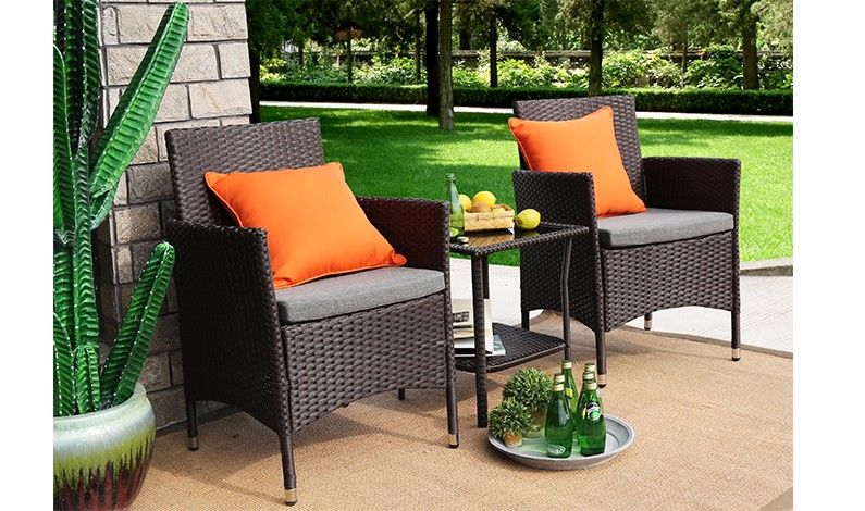3 piece outdoor dining set rectangle table home patio dining sets baner garden pieces outdoor furniture complete cushion pe wicker rattan dining set full chocolate q16 baner garden